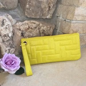 Hobo Quilted Yellow Zipped Clutch Purse
